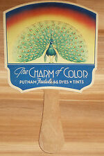 Vintage Hand FAN PEACOCK Dye Tint PHARMACY Dry Cleaner MONROE Chemical