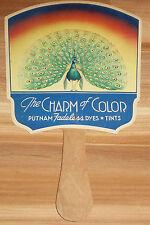 Vintage Hand FAN PEACOCK Dye Tint PHARMACY Dry Cleaner MONROE Chemical