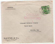 1941 Batavia Netherlands Indies Airmail Commercial Censored Cover to USA