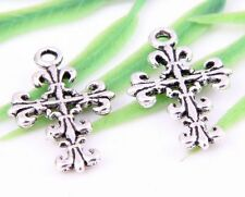 25pcs Tibetan Silver Cross Charms Pendants 23x14mm  (Lead-free)