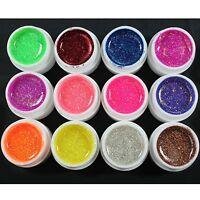 Glitter UV Gel 12 Mix Colors Builder False Tips Acrylic Nail Art Polish Kit Set