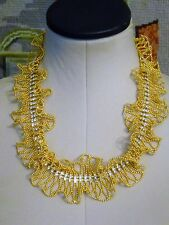 """RUFFLED"" NECKLACE GOLDTONE, STUNNING HIGH-END GLAMOROUS, SOFT W/CRYSTALS"