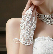 8g Short White Luxurious Sequins Lace Fingerless Bridal Wedding Prom Gloves