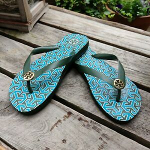 Tory Burch Army Green Patterned Flip Flop Rubber with Gold Logo Medallion Size 5