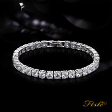 Ladies 14K White Gold Over 7 CT Round Cut Diamond Tennis Bracelet 7 Inches