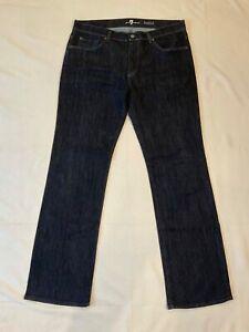 NWOT~7 For All Mankind~Men's Charcoal Denim Jeans Bootcut Cotton Blend Sz 36/34