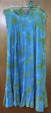 Avatar Women's 100% Cotton Blue Green Tie Dye Strapless Halter Top Dress Sz L
