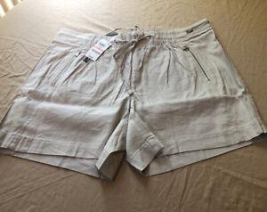 INC Women Beige Mid Rise Drawstring Casual Shorts Size 2X  (d) 724