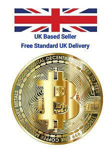New Bitcoin Physical Collectors Gold Plated Coin BTC  40mm - UK STOCKIST