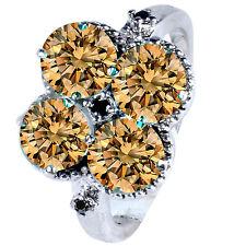 Natural Black Diamond.925 Silver Ring 2.15 ct Vs1/Brown Real Moissanite&