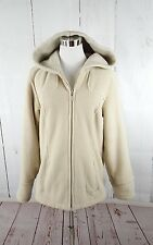 Esprit Vtg Faux Fur Tan Khaki Hooded Full Zip Jacket M Women's