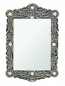 Bone Inlay Floral Black Design Mirror Frame