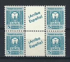 Spain 1937 Arriba Loja Granada Civil war Loxa local gutter block 4 MNH