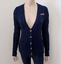 NWT Hollister Womens Wool Cable Knit Cardigan Sweater Size Small Navy Blue