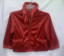 ELLE Womens Satin Cropped Jacket Blazer Small Cranberry Zip Up NEW READ