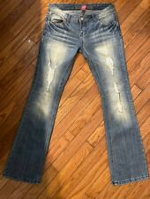 New listing Almost Famous Jeans Women's Size 7 Low Rise Triple Button Med Wash Distressed