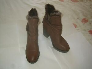 Ladies boots ' F&F ' – brown – size 4