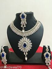 Indian Bollywood Blue Fashion Bridal Jewelry Necklace Set