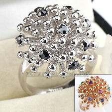 Fashion Multi-Colored Ring Cocktail 18KGP Crystal Size 5.5-9