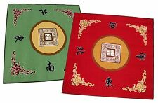 "31"" Slip Slide Resistant Mahjong Domino Card Gaming Table Cover Red + Green Mats"