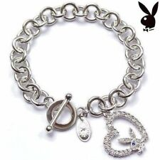 Playboy Bracelet Heart Bunny Charm Link Chain Toggle Play Boy y2k Deadstock NEW