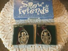 Nib Longaberger Snow Friends Pewter Ornaments. Set of 2. Beautiful!