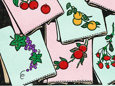 1940s VTG Aunt Martha's Embroidery Transfer 9456 Applique Fruit Tea Towels