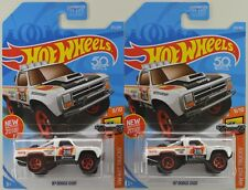 "2018 Hot Wheels: '87 DODGE D100 TRUCK ""White"" 1st. Edition - 2 Car LOT Set - NEW"