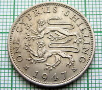 CYPRUS GEORGE VI 1947 SHILLING, UNC ONE YEAR TYPE
