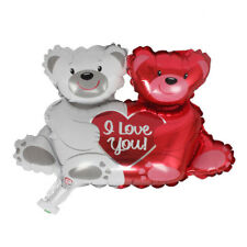 Valentines Wedding Party Decor Double Bear Hug Heart Foil Helium Balloons 0h