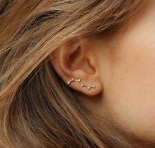 Ladies Ear Crawler Ear Cuff Earring 0.90 ct Sim Diamond 14k Yellow Gold Finish