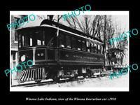 OLD POSTCARD SIZE PHOTO OF WINONA LAKE INDIANA THE WINONA INTERURBAN CAR c1930