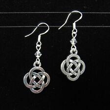 SJ1~Celtic Knot Charm Sterling Silver Hook Dangle Earrings w/ Swarovski Crystal