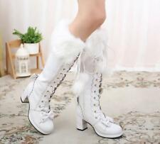 Lolita Sweet Girls Womens Cosplay Fur Lining Sweet Bow Knee High Boots Shoes New