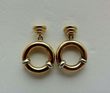 PRE OWNED 2 COLOUR GOLD DROP EARRINGS. BOXED