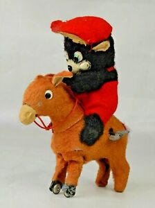 """Vintage Clockwork Donkey With Bear Rider Made In Japan 5"""" Long Works Great"""