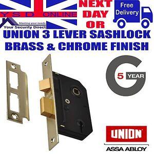 UNION J-ES-SL Essential 3 Lever Mortice Sashlock 65mm & 79mm PB & SC Finish