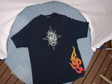 Motorcycle Biker T-Shirt Dragon and Flames Short Sleeve Dark Blue Sz:XL