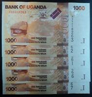 LOTE DE 5 BILLETES. 1000 SHILLINGS , 2010 . UGANDA . P-49 . S/C-UNC.