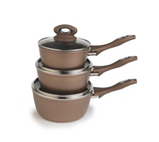 Salter BW04478B Marble Collection Forged Aluminium Non Stick 3 Piece Pan Set NEW