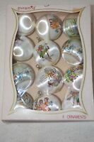 Vintage MCM Christmas Ornaments Mother Goose Rhymes Satin Silk Set 12