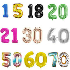 """32"""" 40"""" Giant Foil Number Balloons Birthday Party 1st/16/18/21/30/40/50/60/70/80"""