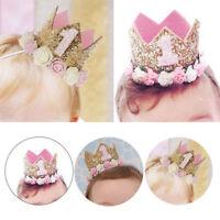 Newborn Baby Headband Princess Crown Flower 1st Birthday Party Tiara Hair Decor