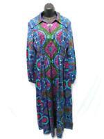 Vintage Psychedelic 60s S Blue Red Green Print Dress Hippie Clasp V Neck Midi Sm