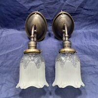 Wired Pair Nice Dark Brass Wall Sconces Rewired Antique Shades Nice 118A