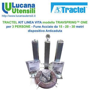 TRACTEL KIT LINEA VITA TRAVSPRING ONE 3 PERSONE - Acciaio 15-20-30mt Anticaduta