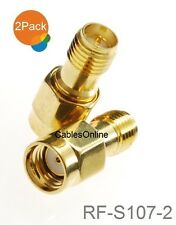 2-Pack RP-SMA Male to RP-SMA Female Pin-Saver Gold Plated Adapter, RF-S107-2