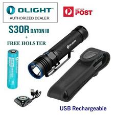 Olight S30R III 1050 LM USB Rechargeable CREE LED Torch w/Battery + Free Holster