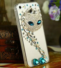 Bling Rhinestone Art Fox Charm Hard Back Cover Case for iPhone 5 5s Transparent