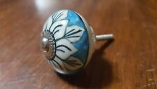 Hand-made Hand-painted Ceramic Drawer Knob - Blue with white flower - S24
